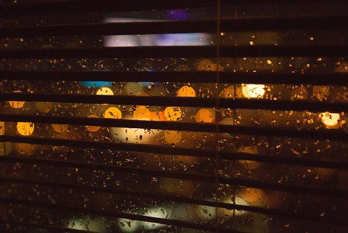 Blurry, Lights, Rain, Window, Blinds, Dark, Night