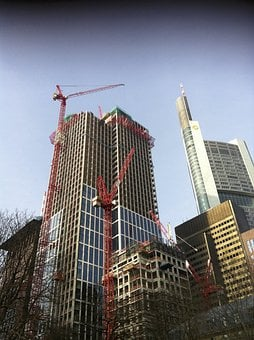 Frankfurt, Skyscrapers, Build, Crane, Scaffold, Baukran