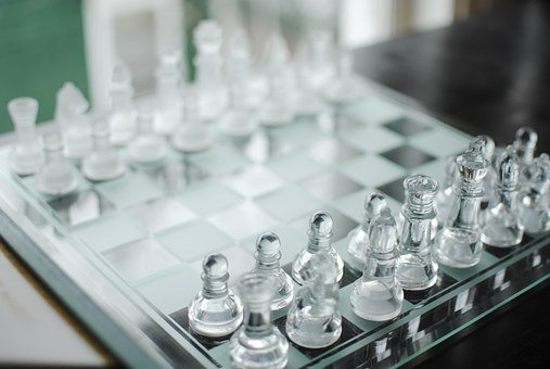 Chess, Game, Chess Board, Chess Pieces, Glass Chess Set