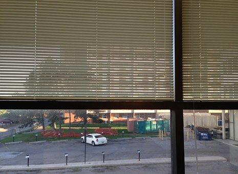 Office, Window, Blinds, Parking Lot, Business, Building