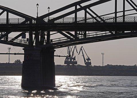Bridge, Cranes, Port, Danube, Morning Light, Blinding