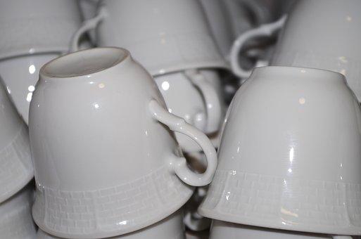 Hrnečeky, A Lot Of, White, For Coffee, Riad, Wash