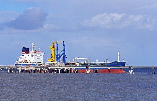 Wilhelmshaven, Sea Bridge, Tanker, Discharge, Oil Port