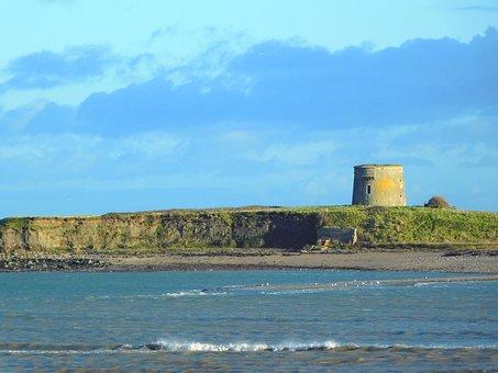 Martello Tower, Shenick Island, Seascape, Sea, Water