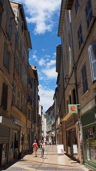 Shopping Street, Avignon, France, Road, Houses Gorge