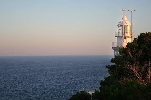 Lighthouse, Sea, Cliffs, Rock, Beach, Blue, Sky, Coast