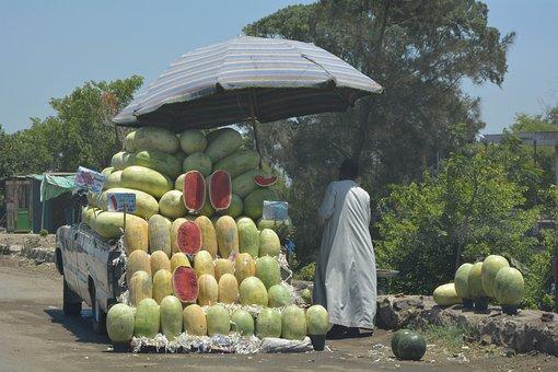 Watermelon, Market, Street, Grocery, Street Shop, Egypt