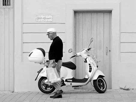Vespa, Scooter, Man, Walking, Motorcycle, Transport