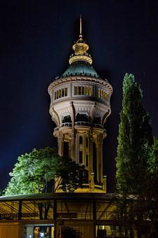 Tower, Water Tower, Building, At Night, Budapest