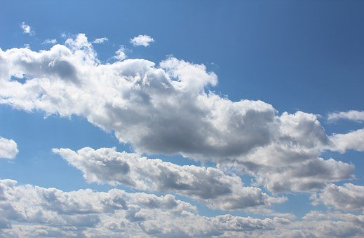 Blue Sky, Clouds, White, Blue, Cumulus Mediocris