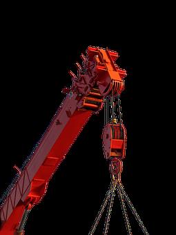 Crane, Site, Work, Machine, Cutout, Red, Lifting