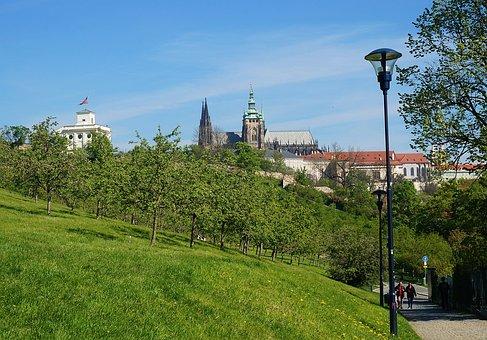 Castle, Prague, Czechia, Park, Pavillon, Architecture