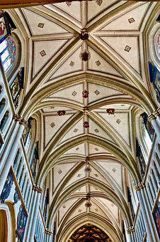 Arches, Ceiling, Church, Cathedral, Architecture