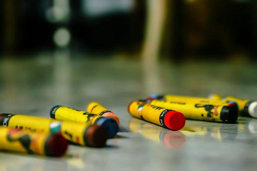 Crayons, Paint, Illustration, Colors, Children