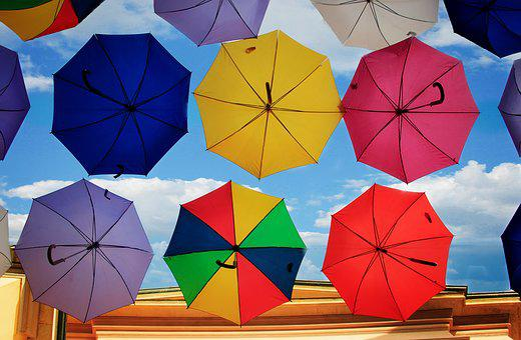 Umbrella, Vivid, Form, Colors, Multi Colored, Sky