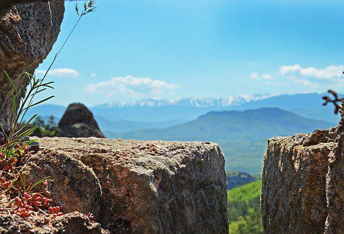 Fortress, Window, Mountains, Spring, Grass, Granite
