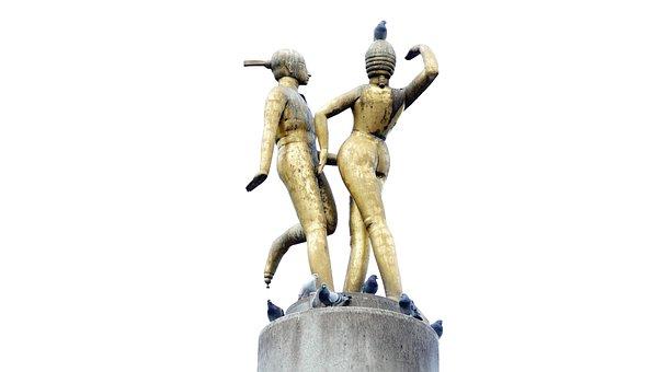 Monument, Sculpture, Hermann Square, Berlin, Gold
