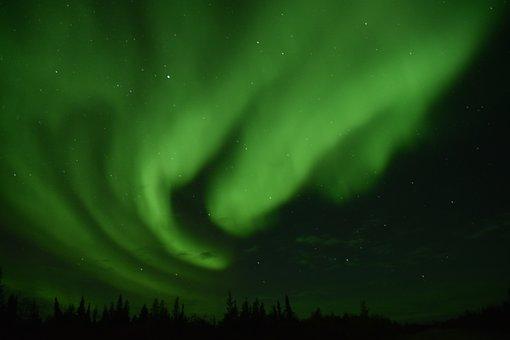 Aurora, Natural, Leaf, Color, Sky, Canada, Green