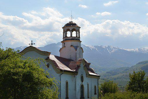 Orthodox, Church, Bulgaria, Spring, Mountains, Clouds