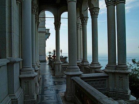 Trieste, Miramare Castle, Italy, Pillar, Architecture