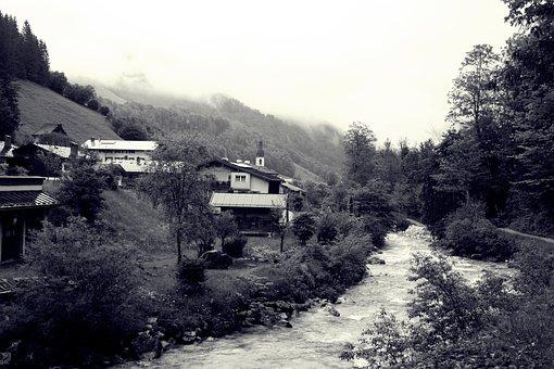 Fog, Upper Bavaria, Berchtesgadener Land, Rapids