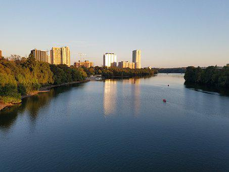 Water, River, Reflection, City, Architecture, Austin