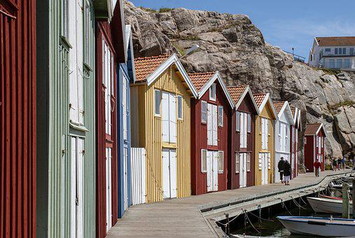 Sweden, Smögen, Kungshamn, Colorful