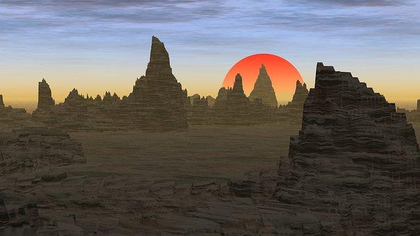 Desert, Rocks, Rocky, Peaks, Desolate, Travel, Sunset