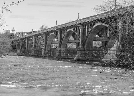 Bridge, Black And White, Water