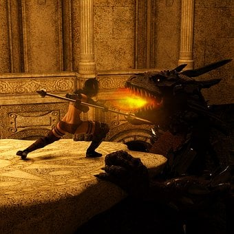 Amazone, Elf, Dragons, Fire, Temple, Fight, Weapons
