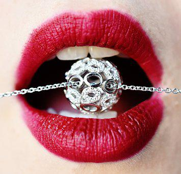 Jewel, Lips, Red, Fashion Jewelry