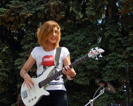 Guitar, Electric Guitar, Bas-guitar, Girl, Guitarist