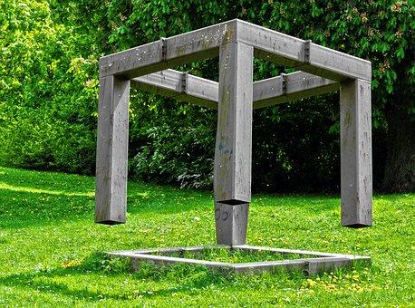 Park, Art, Metal Frame, Grass, Meadow, Shrubs