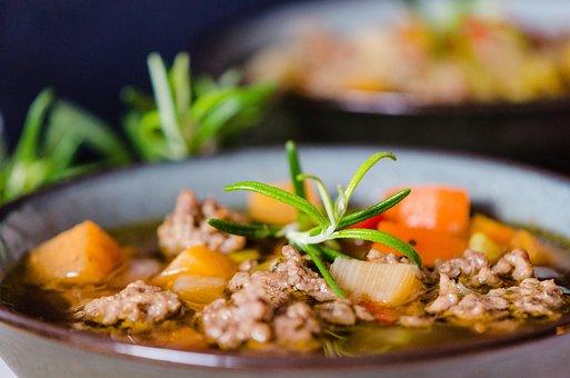 Soup, Minced Meat Soup, Minced, Vegetables