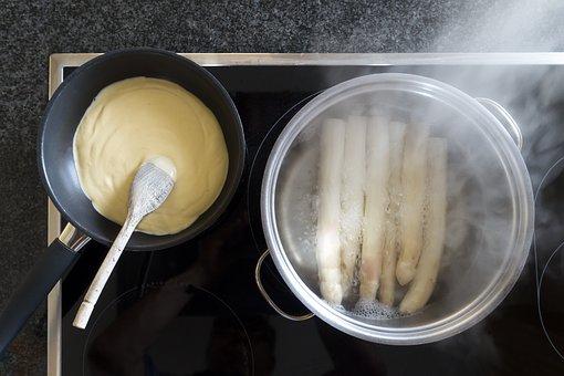 Hollandaise Sauce, Pan, Wooden Spoon, Asparagus, Food