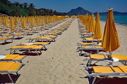 Sardinia, Beach, Vorsaison, Parasol, Parasols