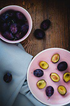 Plum, Food, Fruit, Dessert, Vitamin, Table, Plate, Ripe