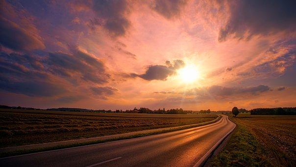 Nature, Sunset, Sky, Road, Sun, Fields, Panorama