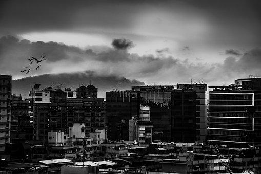 City, Skyline, Cityscape, Panoramic, Monochrome, Town