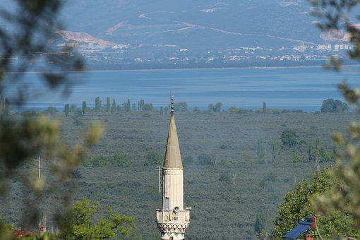 The Minaret Of The Mosque, Lake, Village Of Soloz
