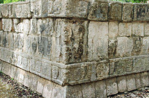 Mexico, Chichen Itza, Wall, Skulls, Pierre, Decoration