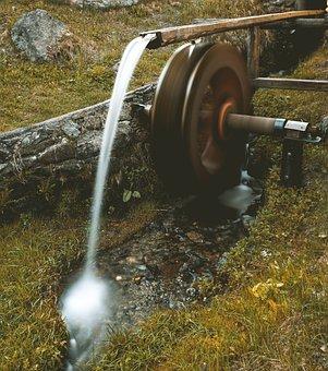 Mill Wheel, Water, Bach, Hiking, Bavaria