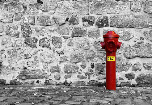 Stone, Wall, Background, Hydrant, Red, Water, Yellow