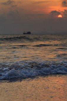 Water, Sunset, Beach, Coast, Sea, Ocean, Sand, Evening