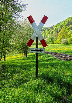 Level Crossing, Road Sign, Gleise, Warnkreuz