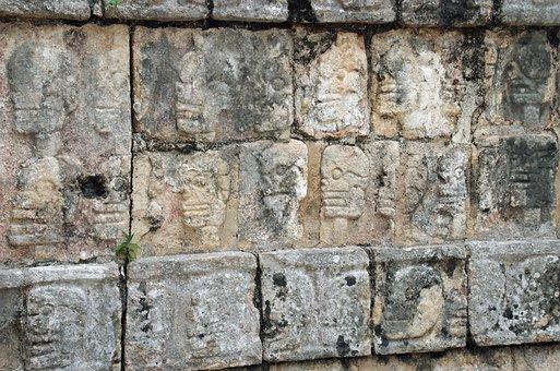 Mexico, Chichen Itza, Maya, Bas-relief, Warriors