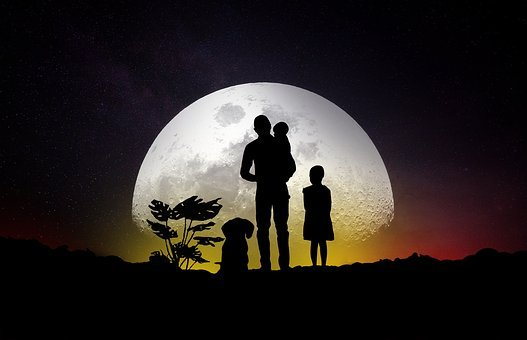 Moon, Family, Dog, Man, Girl, Baby, Happiness
