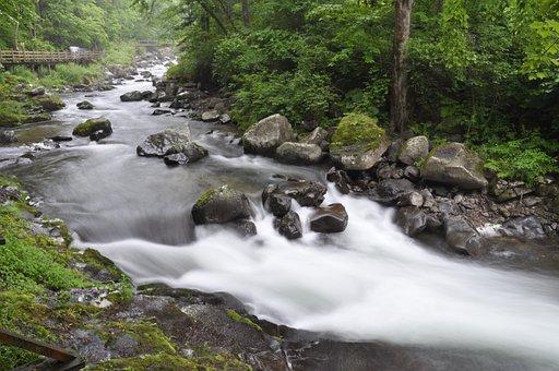 Waters, Flow, River, Falls, Nature