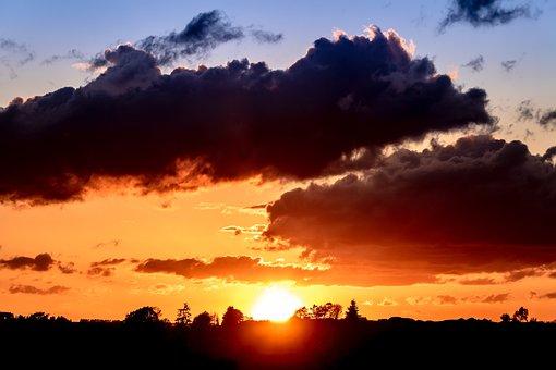 Sunset, Sun, Sky, Setting Sun, Abendstimmung