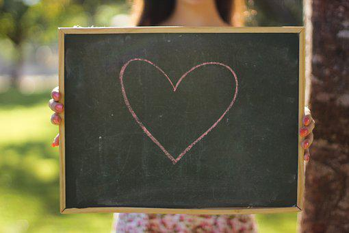 Education, School, Blackboard, Love, Girl, Woman